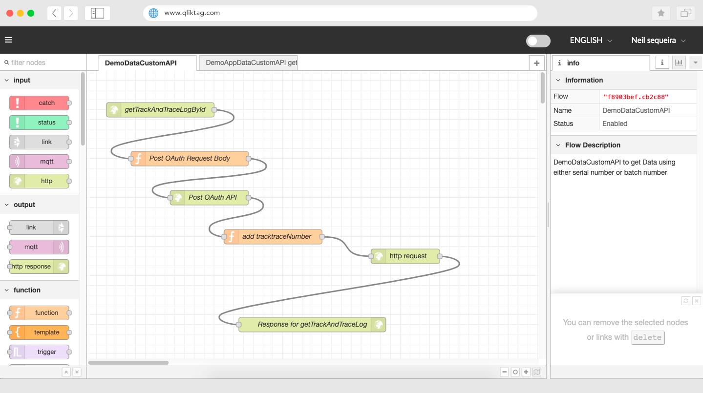 Qliktag IoT - Custom API Designer