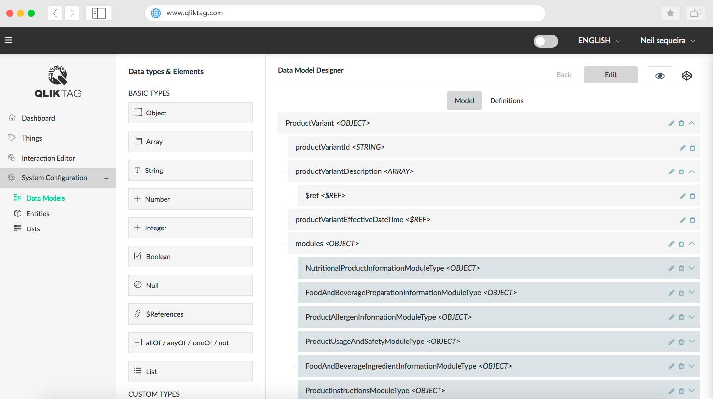 Qliktag IoT Platform - Data Model Designer