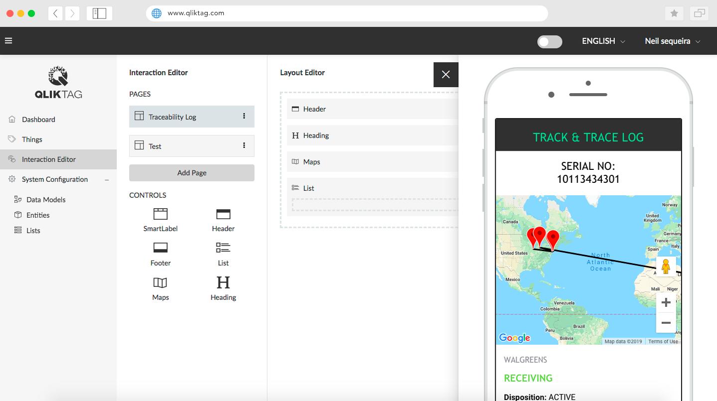 Qliktag IoT Platform - Digital Interaction Editor