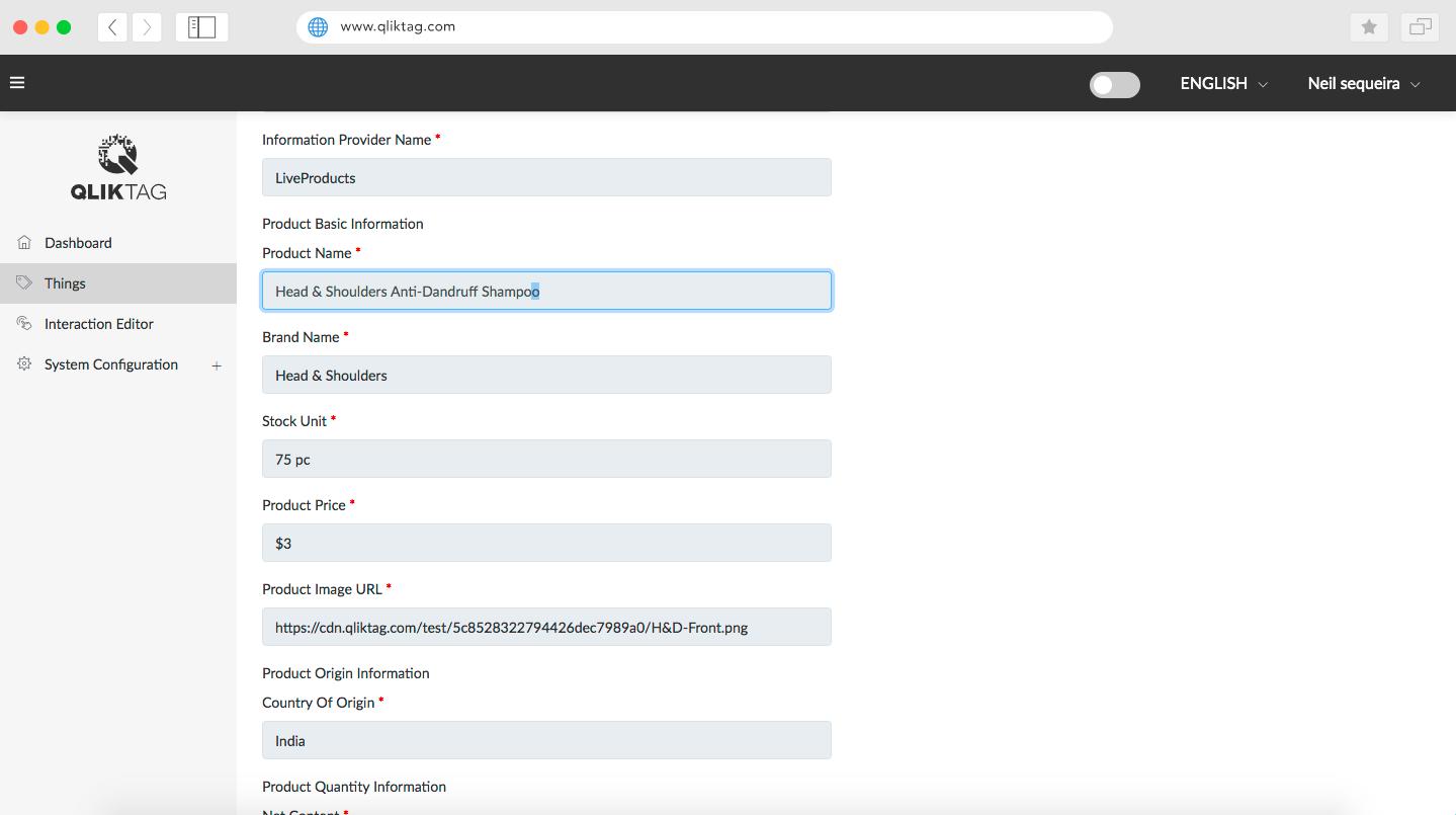 Qliktag IoT Platform - Things Editor