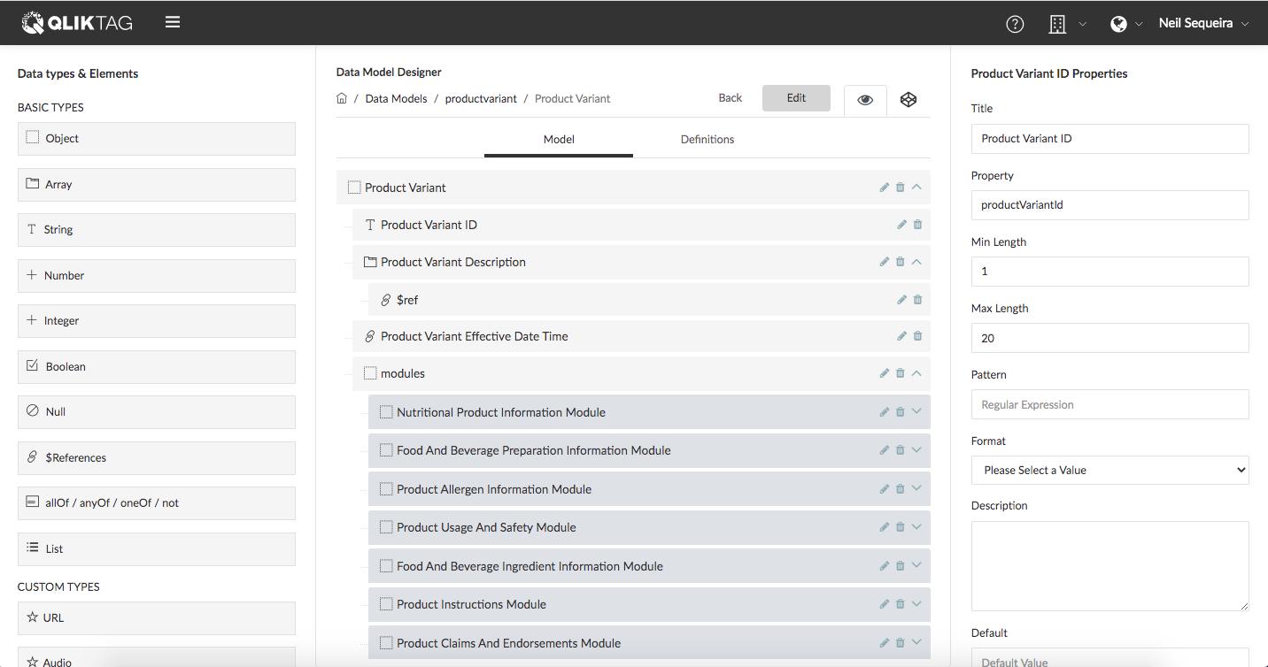 Qliktag Json Schema Visual Data Modeling Designer Editor Tool